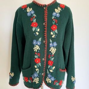 VINTAGE HAND EMBROIDERED CARDI HOLIDAY SPRING